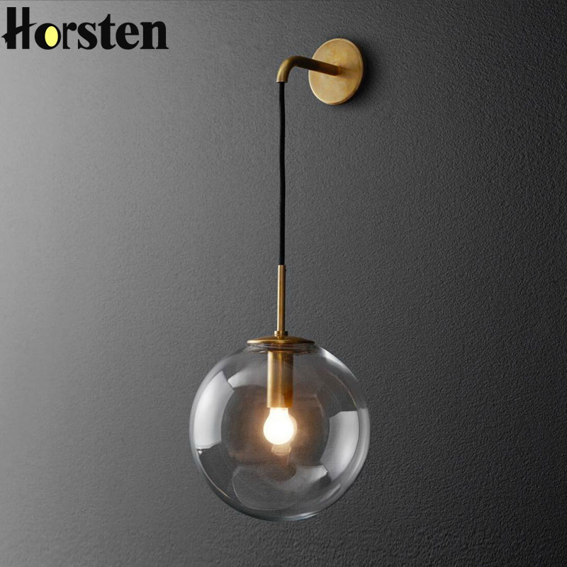 Nordic Post Modern LED Wall Lamp Creative Glass Ball Mirror Bedside Wall Lamps Vintage Wall Light