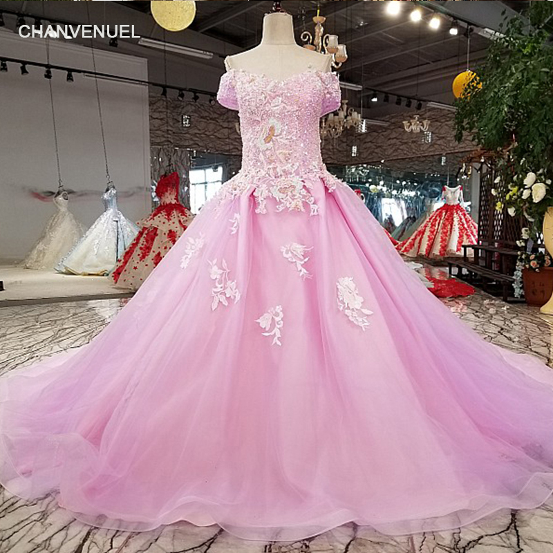 LSX83219 lilac ball gown shiny evening dress with glitter off shoulder sweetheart girls dress for party with train as photo 2018