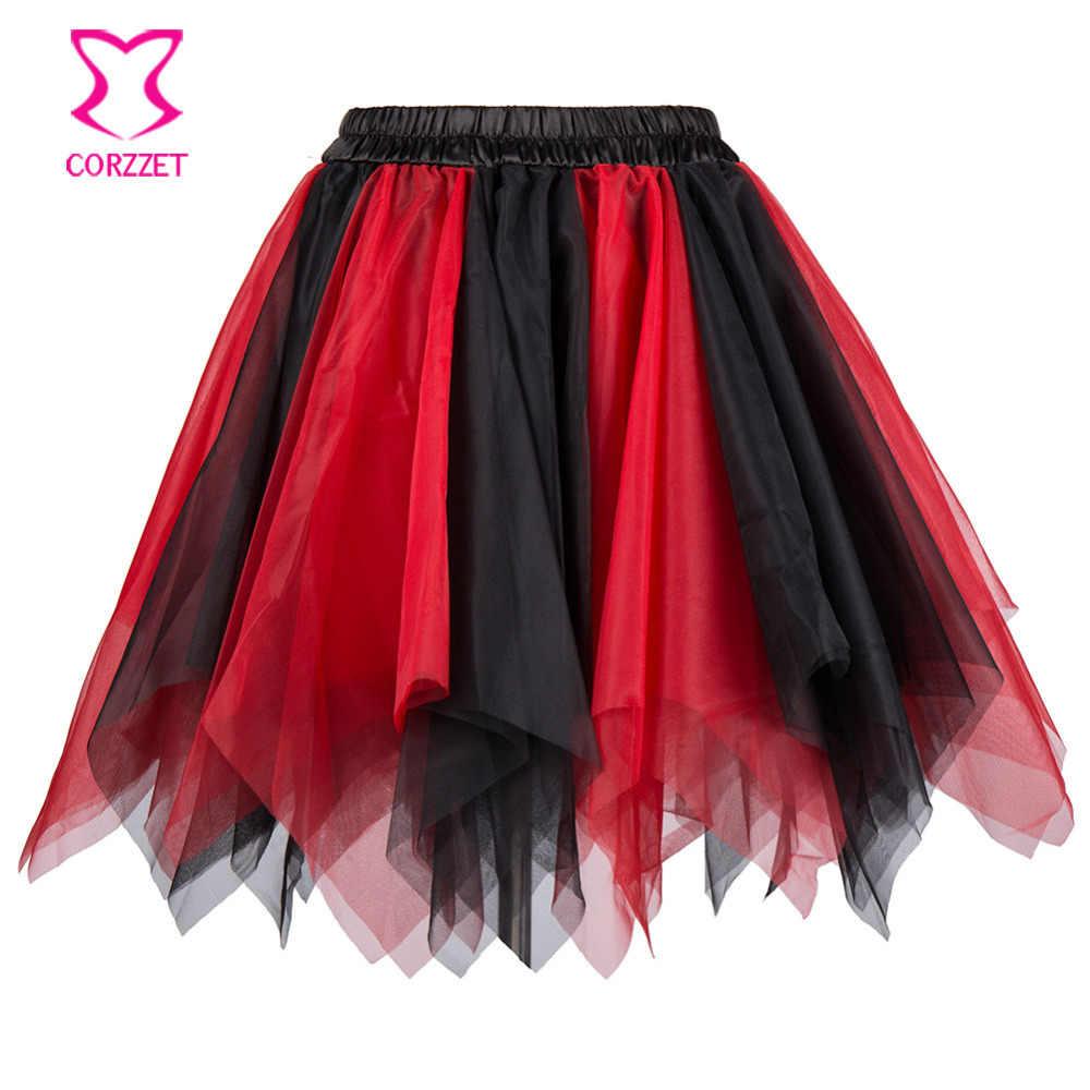 794273a9bc Red   Black Layered Asymmetrical Tulle Mini Skirt Sexy Petticoat Fluffy  Pettiskirt Corset Tutu Skirts For