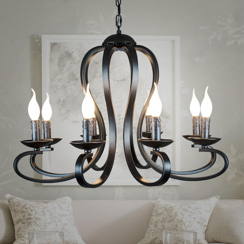 Nordic American Coutry Style Modern Candle Chandelier Lighting Fixtures Vintage White/black Wrought Iron  Home Lighting E14