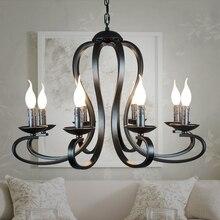 北欧アメリカの coutry スタイル現代キャンドルシャンデリア照明器具ヴィンテージホワイト/黒錬鉄製のホーム照明 E14