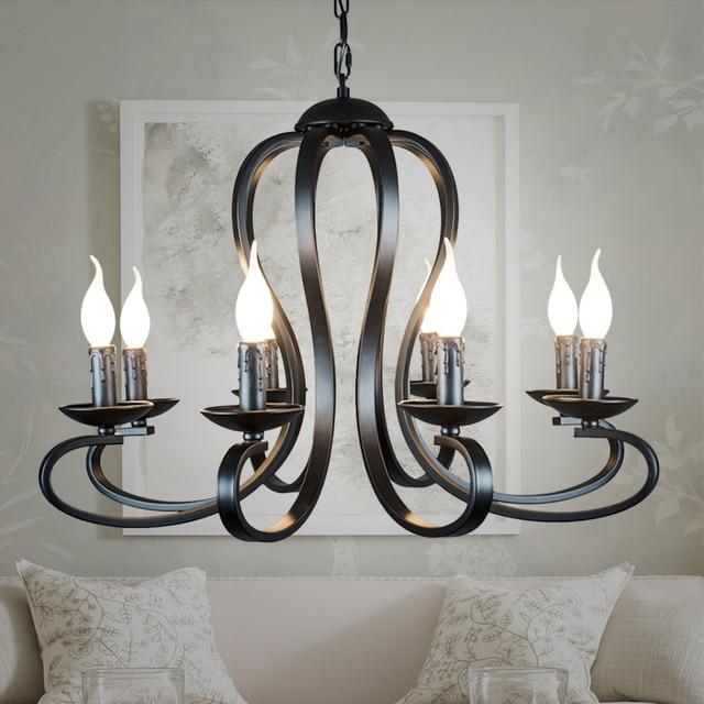 נורדי אמריקאי coutry סגנון מודרני נר נברשת תאורת גופי בציר לבן/שחור יצוק ברזל בית תאורה E14