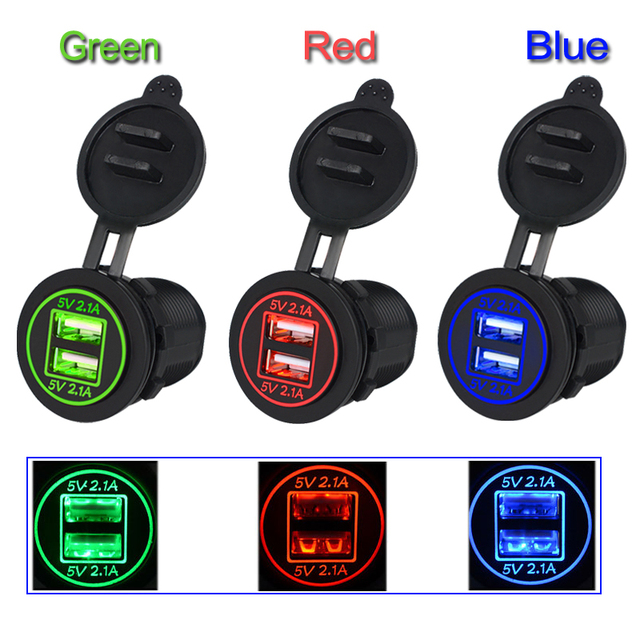 12-24V 4.2A/DC Waterproof Dual USB Car Ciagrette Lighter Adapter Charger Dual USB Socket with 2 Aperture For Vehicle Voltmeter