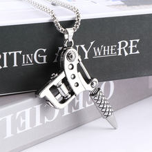 1pc Mini Tattoo Machine Necklace Pendant Punk Style Chain Necklace Jewelry Fashion Women Men Jewelry(China)