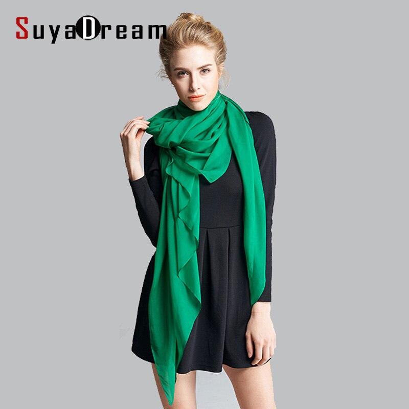 SuyaDream Women Silk Scarf 100%Real Silk Georgette 200CMx140CM Long Scarfs