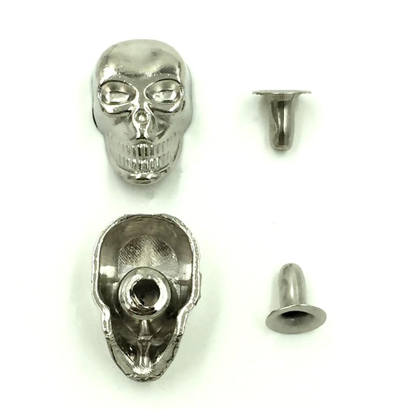 Spike Rivets Studs Spots Punk Skull Crane Skeleton Silver Tone DIY Bag Shoes Clothes Crafts Making Finding 16x10mm 10Sets