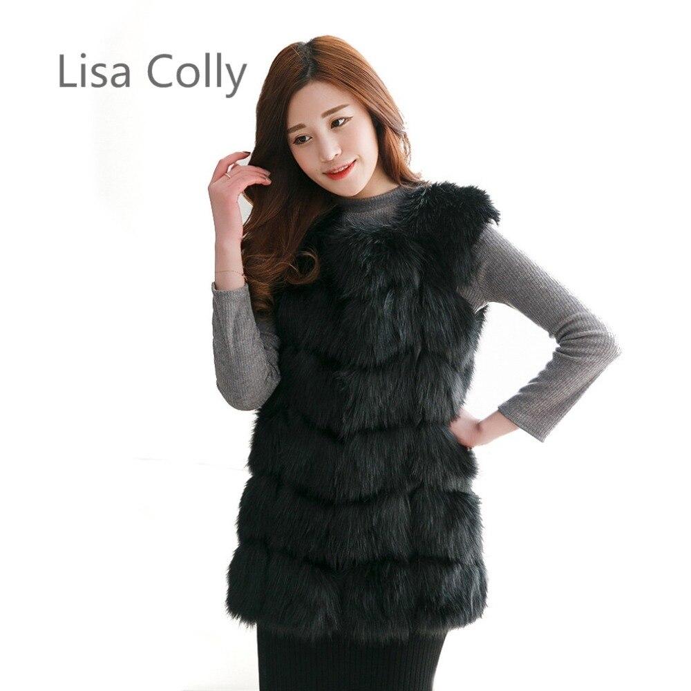 Lisa Colly Neue Wintermantel Jacken Frauen Pelz Weste Mantel Hochwertigen Faux Pelzmantel Jacken Outwear Frauen Fuchspelz Lange Weste 4XL