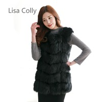 Lisa Colly New Women Import Fox Fur Vest Coat Warm Fur Vest Coat High Grade Faux Fur Vest Women's Winter Coat Jacket Outwear