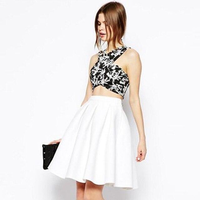 White midi high waisted skater skirts for women summer A-line full pleated  skirts ladies stylish elegant cute knee length skirts 65f30e976