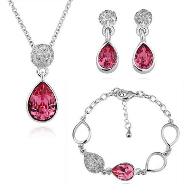 HNSP Top Crystal Wedding Nupcial Sistemas de la Joyería de Moda Plateado Oro de la joyería para las mujeres S096