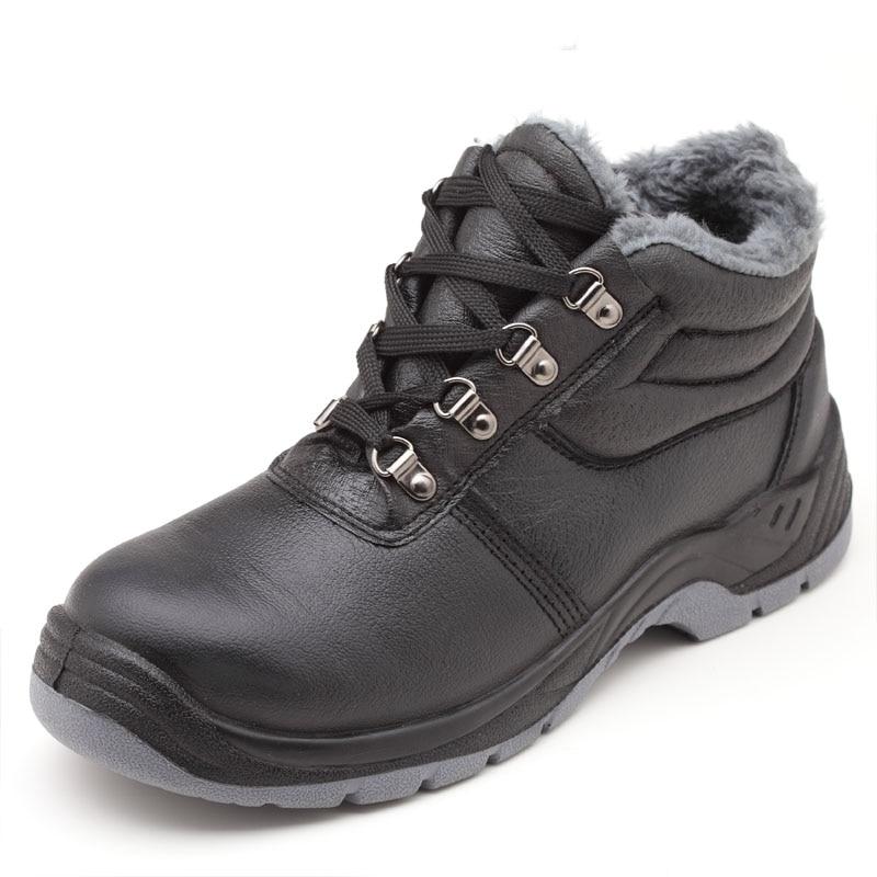 Steel Anti Algodão Couro Caps Trabalho Do Toe De Preto pierce Macio Warm Segurança Casual Sapatos Homens Tornozelo Neve Plush Plataforma Botas 5qafY0x6qw