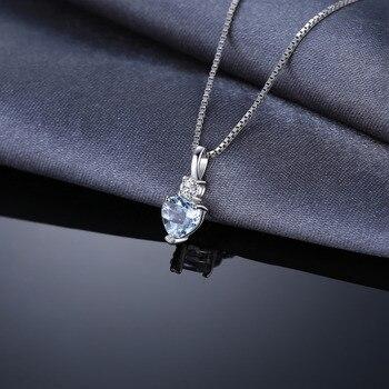 Aquamarine White Topaz Pendant Necklace  1