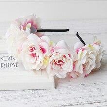 New Women Retail princess headdresses flower Girl Circlet, Rose Hair Garland women girls flower wreath Headpiece Boho Floral цена