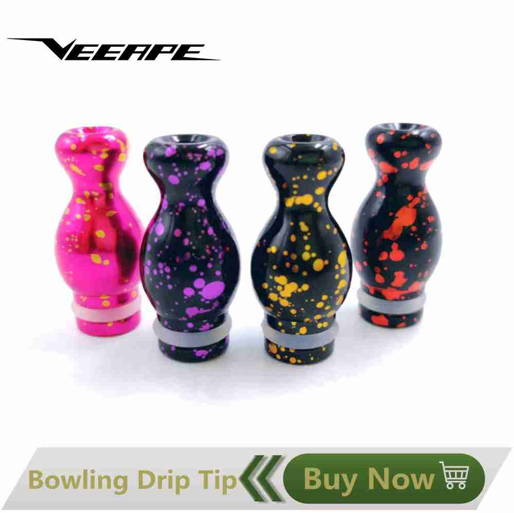 Electronic Cigarette Accessories Veeape 2pcs/lot Epoxy Resin 510 Drip Tip Bowling For 510 Ego Atomizer Electronic Cigarettes Mouthpieces Relieving Heat And Thirst. Consumer Electronics