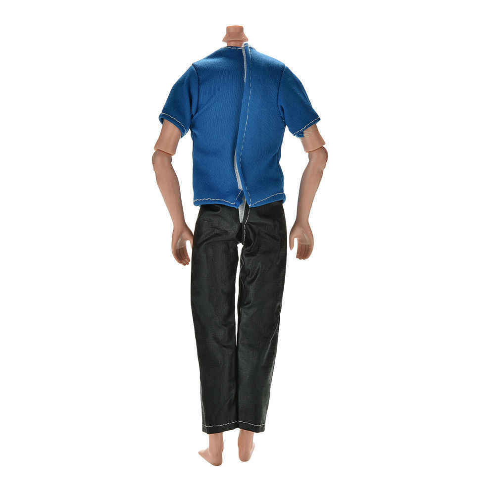 """ホット販売 2 ピース/セット手作り黒パンツブルー tシャツ人形 11 """"人形ケン人形の服アクセサリー"""