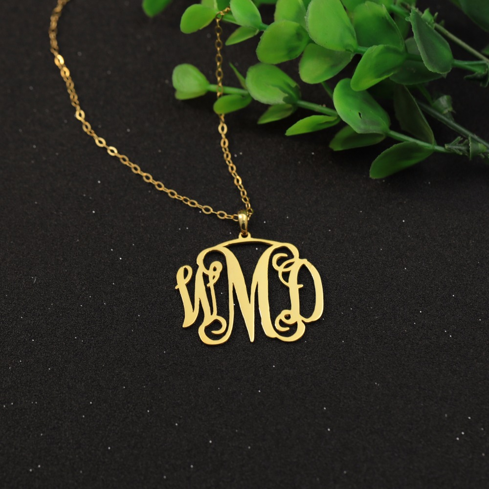 d73148db8 Customized Golden Color BFF Monogram Pendant Silver Jewelry Personalized 3 Initials  Nameplate Necklaces Birthday Gift