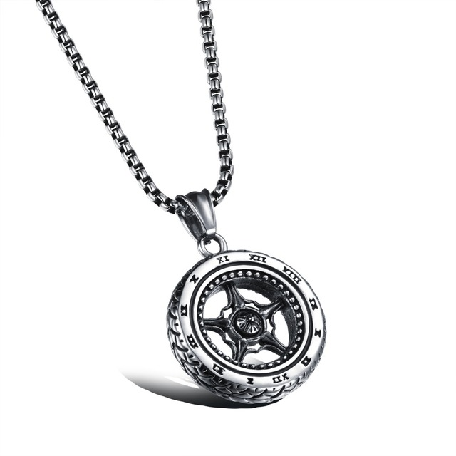 Fashion personalized mens jewelry men necklace round wheel pendants fashion personalized mens jewelry men necklace round wheel pendants for boy 316 stainless steel high quality aloadofball Gallery