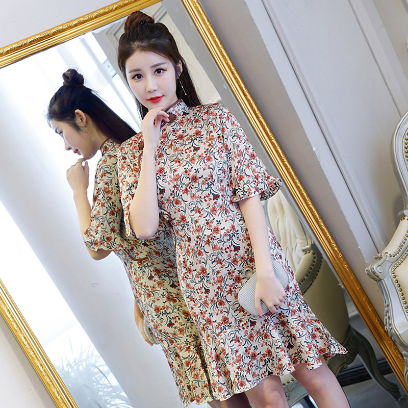 New Arrival Chinese Women Prom Party Dress Slim Mandarin Collar Qipao Elegant Vestidos S 2XL Summer Print Floral Cheongsam
