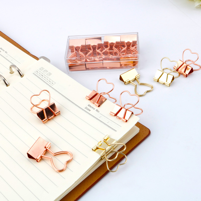 10pcs Fashion Gold Rose Gold Color Binder Clip Hollow Out Heart Shape Metal Binder Clips Photos Tickets Notes Letter Paper Clip