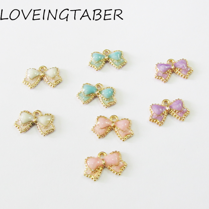 Wholesale 16mm 10mm 30pcs lot Glitter Enamel Small Bow Charms 308c43600bfb