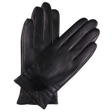 Leather Gloves Female Autumn Winter Cute Ball Keep Warm Touch Screen Driving Plush Lined Thicken Sheepskin Woman Gloves L18006NC autumn winter woman s gloves sheepskin patchwork driving leather gloves warm lined female mittens a1051 1