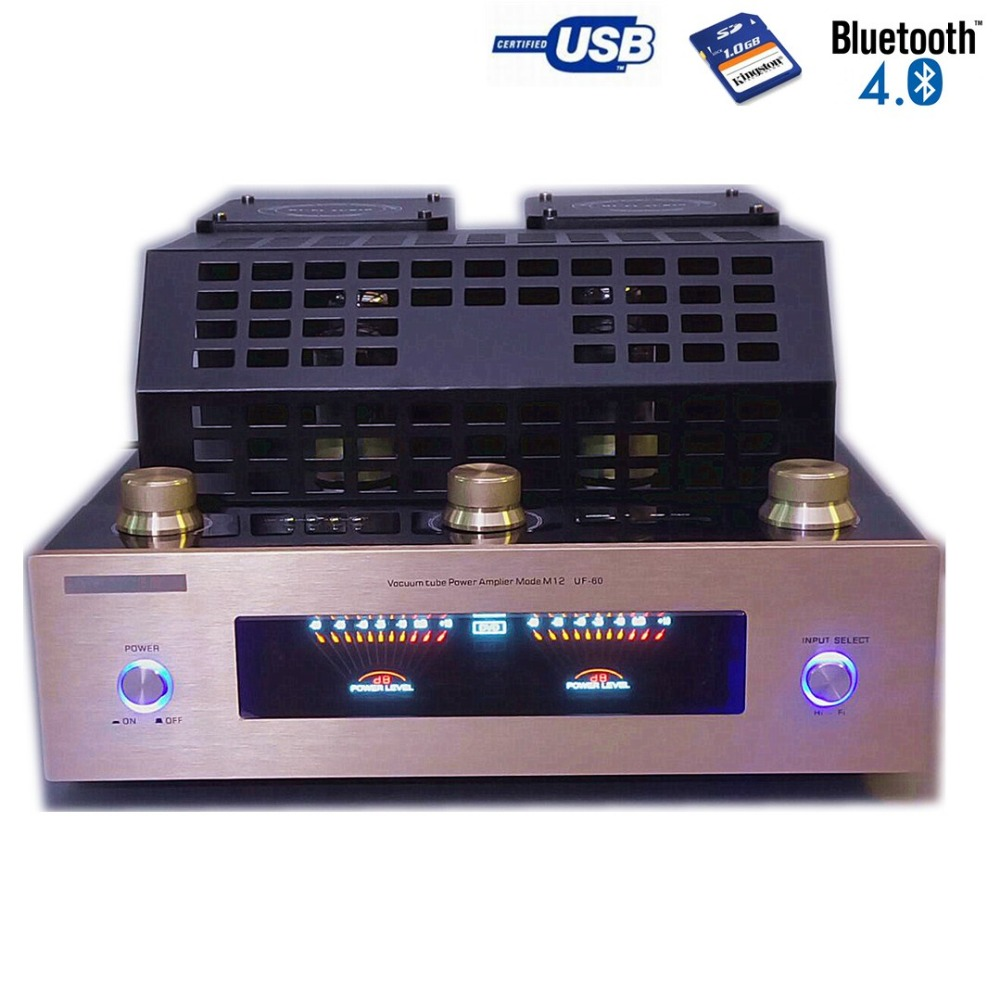 Bluetooth 6J8P Vacuum tube amplifiers with SD USB lossless music player HIFI Stereo AMP audio speaker amplifier Nobsound BT-M12 2016 brand new appj pa1601a 6j1 6p4 hifi wifi vacuum tube amplifier desktop digital audio tube amp hi fi lossless music player