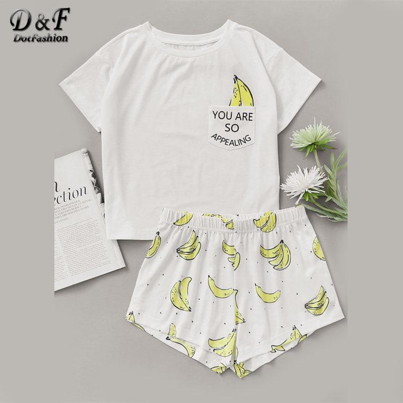 Dotfashion Banana Drucken Tasche Vorne Top Mit Shorts Pyjama Set Damen Kurzarm Nette Pyjama Set 2019 Stretchy Pyjama Set