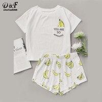 Dotfashion Banana Print Pocket Front Top With Shorts Pajama Set Ladies Short Sleeve Cute Pajama Set
