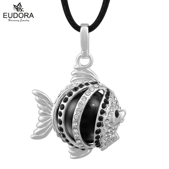 Black Czech Chaton Decorated Fish Silver Belly Necklace Harmony Bola Mexico Ball Locket Cage Chime Baby Pendant Pregnancy Gift