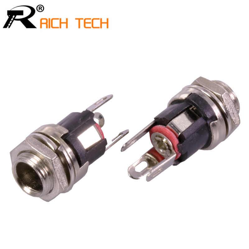 DC 5.5mm X 2.1mm panneau montage femelle DC alimentation adaptateur métal Jack prises connecteur R connecteur en gros 100 pcs/lot
