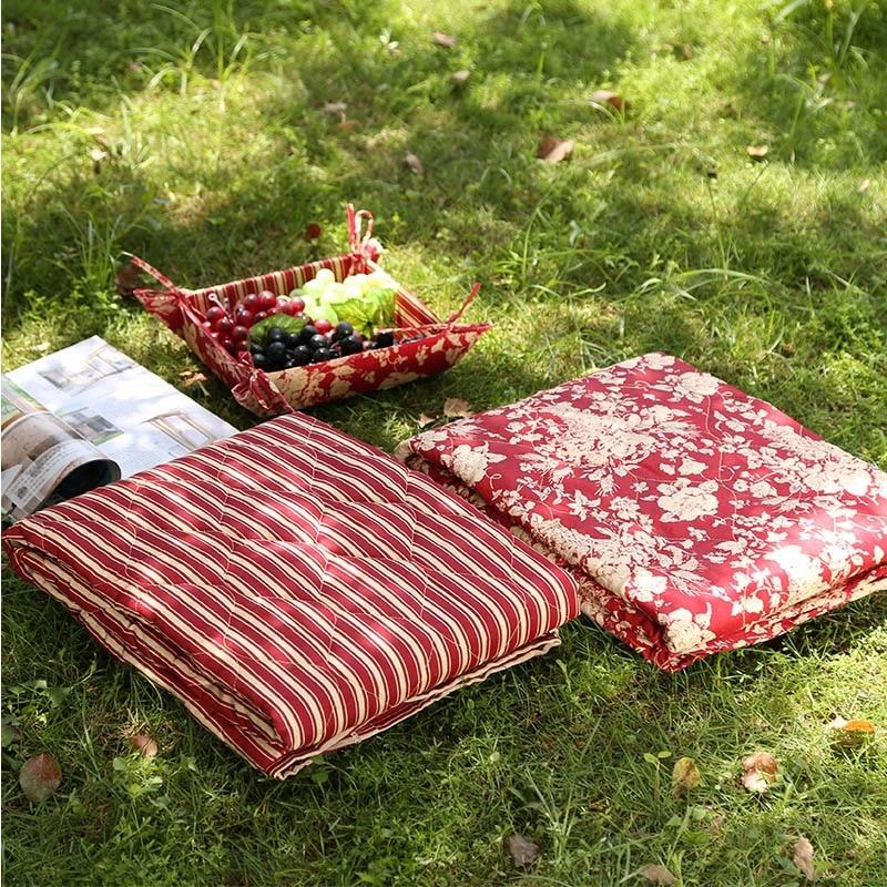 120x120 cm pliable et portable en plein air tapis polyester coton pique nique tapis floral rayures carre camping tapis pour enfants yoga sport tapis