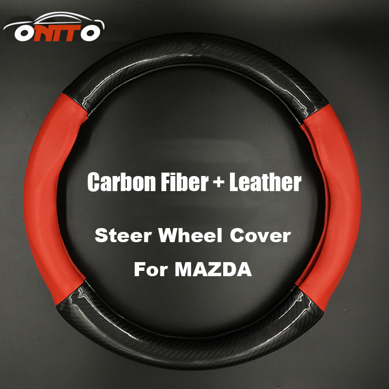 380MM Car Steer Wheel Cover Steering Wheel protective casing Carbon Fiber & Leather for CX 5 7 9 RX MPV MX AXELA/CX-5/ATENZA