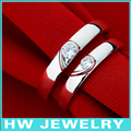 Двойное сердце обручальные кольца, стерлингов серебряные ювелирные изделия кольца