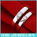 Duplo coração das alianças de casamento, jóias de prata esterlina anéis
