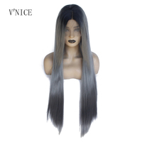 Natural Long Straight Black Roots Ombre Gray 2Tone Wigs Heat Resistant Fiber Synthetic Lace Front Dark Grey Wigs for Women