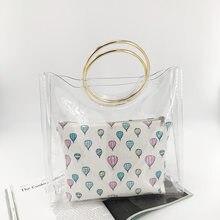 c918a9a1f 2019 Venta caliente bolso de mano de PVC transparente Mujer personalidad  bolsa compuesta dulce dama jalea