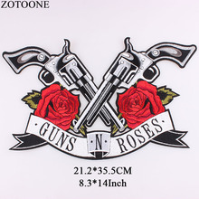 ZOTOONE Embroidery Gun Patch Sticker  Iron On Transfer Rose Letter Patches For Girl Clothing Appliqued Sew Flower G