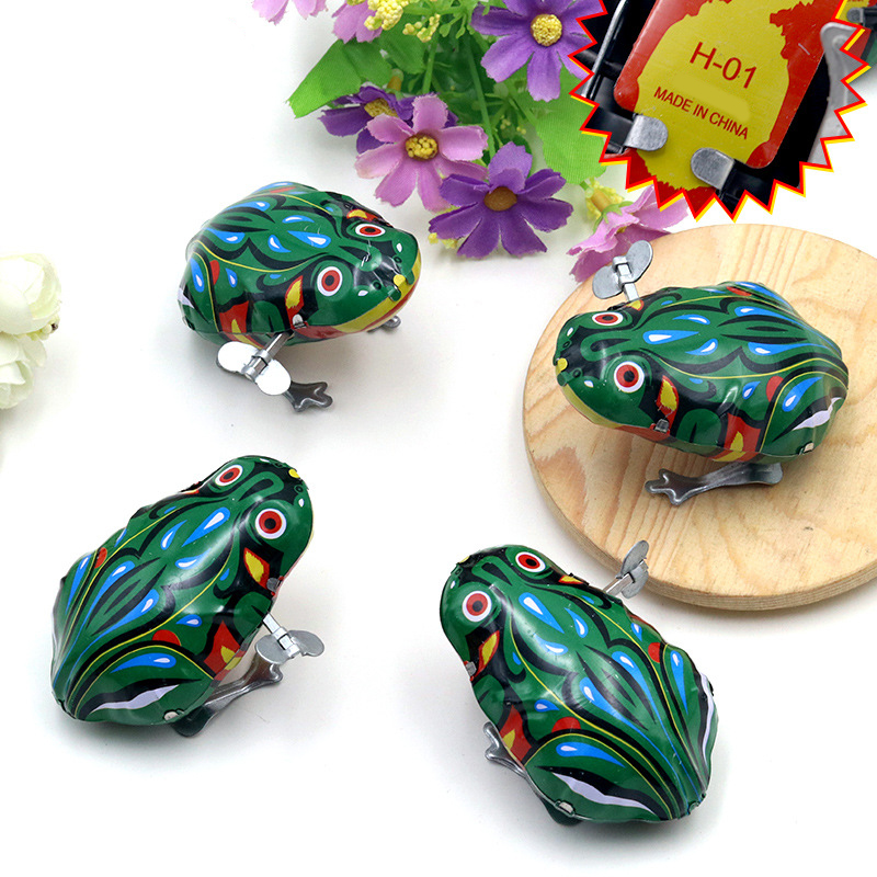 6c5c04157023 Kids Classic Tin Wind Up Clockwork Toys Jumping Frog Vintage Toy New ...
