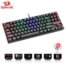 Redragon K552 oyun klavyesi mekanik 87 anahtar RGBLED arkadan aydınlatmalı mekanik bilgisayar aydınlatmalı klavye mavi anahtarları ile