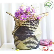 Handmade Seagrass Storage Baskets Household Foldable Laundry Woven Pot Patchwork Wicker Rattan Belly Garden Flower