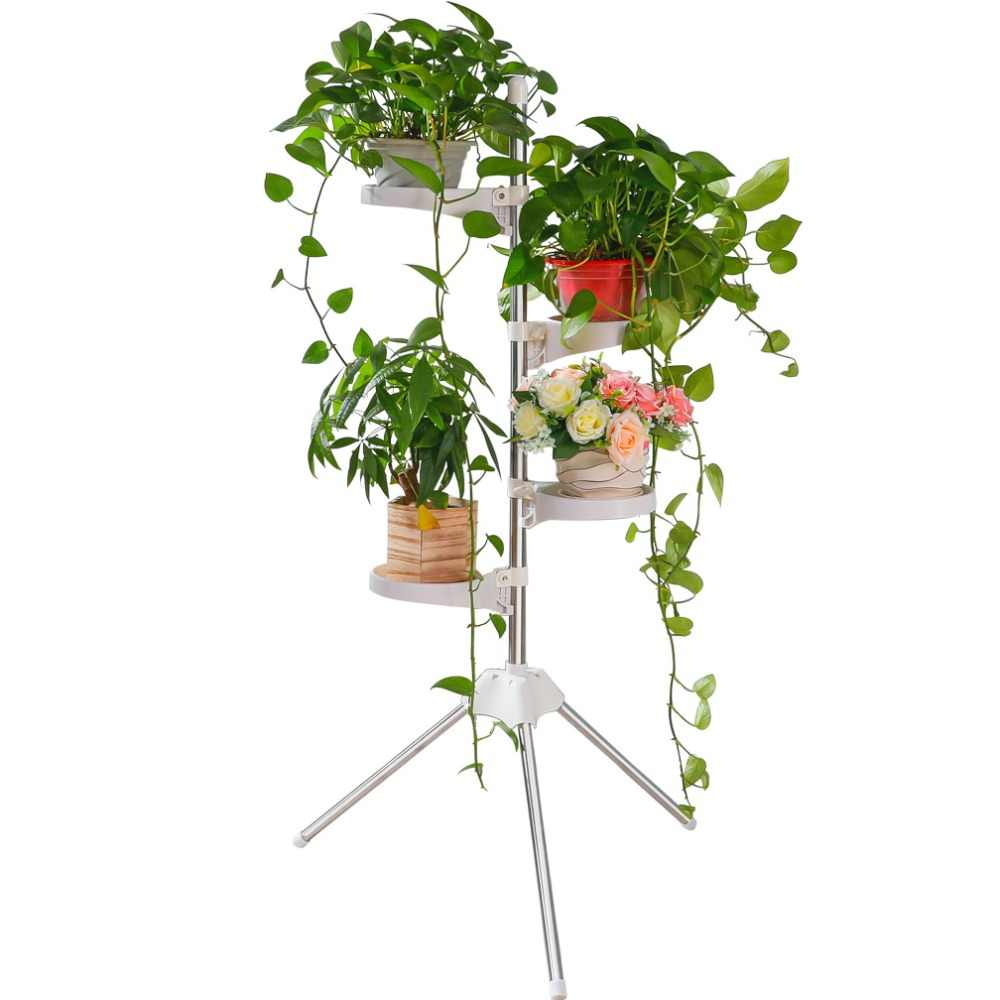 4 Layer Metal Plant Flower Pot Storage Shelf Stainless Steel Vegetation Display Tripod Rack Tray Indoor Outdoor DQ1809-2/-3