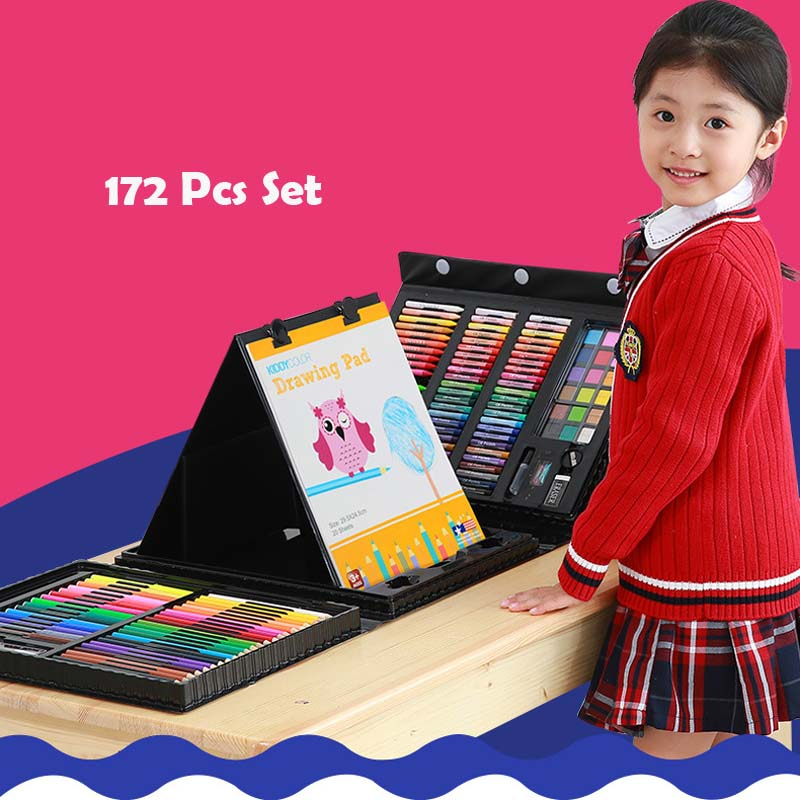 172pc set Colors Pencil Toy for Kids Birthday Party Favor Gift Drawing Artist Kit Painting Art