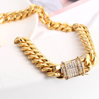10/12/14mm Gold Tone Stainless Steel Miami Curb Link Chain Necklace Men Boy Jewelry 24/30