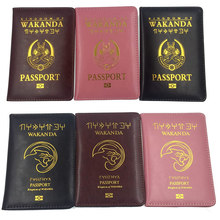 Akcesoria podróżne Wakanda posiadacz paszportu kobiety funkcja PU skórzana okładka Storage Organizer busines karta kredytowa dowód osobisty portfel Case tanie tanio Masz 14 2 cm 0 3 cm od RFID couverture paszport okładka prawdziwej skóry RFID Czarna Pantera Kobieta paszport okładka posiadacz karty portfel CA