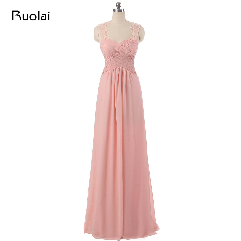 Real Photo   Bridesmaid     Dresses   Long Sweetheart A-Line Chiffon Ruffles Pink Maid of Honor   Dress   2019 Party   Dress   for Wedding BM31