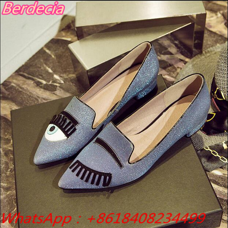 ФОТО Bling Bling Eyes Low Heels Women Pumps Shallow New Fashion Pointed Toe Mixed Color Women Loafer Spring Autumn Women Casual Shoes