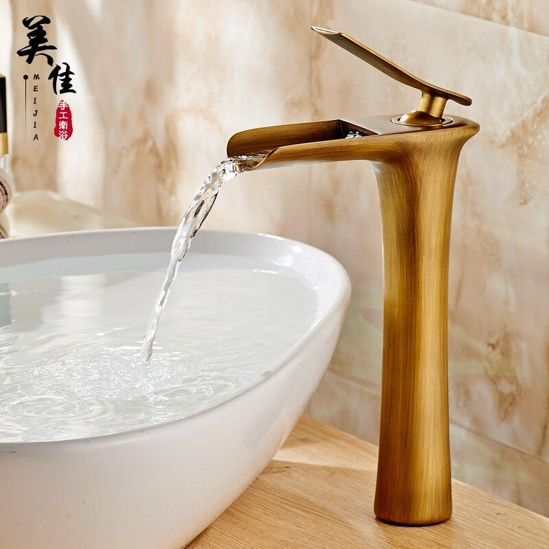 Antique Faucet Single Hole Basin Copper Spool Retro 77# Faucet Bathroom Waterfall Kitchen Sink Bathroom Accessories copper bathroom shelf basket soap dish copper storage holder silver