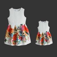 Women formal floral print A line Sleeveless dress mother and daughter sundress family matching clothes mom girls evening dresses