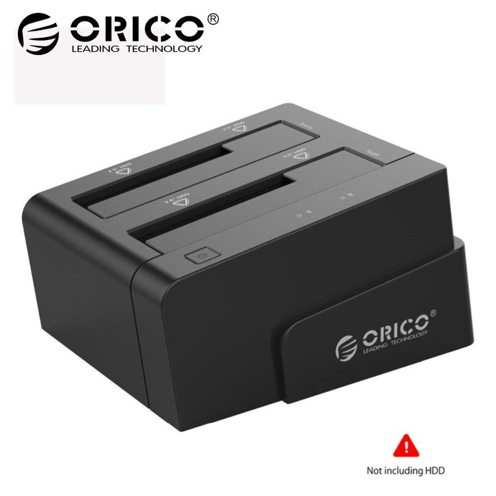 ORICO Hard Drive Docking Station USB 3.0 To Sata 2.5 3.5 Dual Bay hdd Case Box Tool Free Duplicator 16TB for Windows Mac OSX9.1 orico docking station 2 5 3 5 dual bay usb 3 0 to sata hdd ssd case hard drive tool free duplicator 16tb for windows mac osx9 1