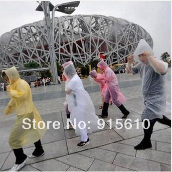 [Amy] free shipping   pvc plastic one off travel rain coat and disposable rain poncho 10pcs/lot retail packaging high quality